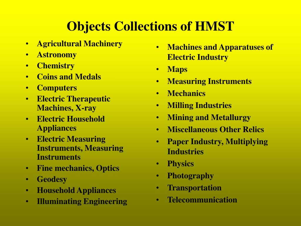 Objects Collections of HMST