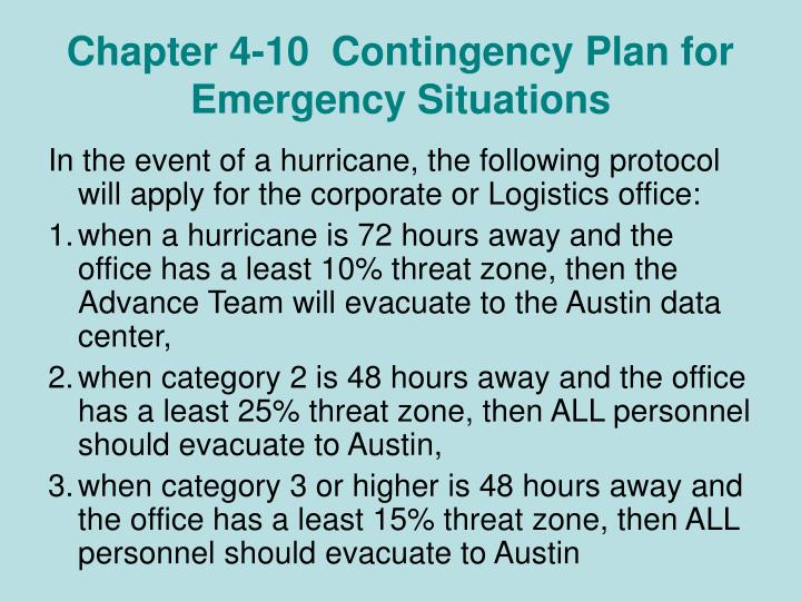 Chapter 4-10  Contingency Plan for Emergency Situations