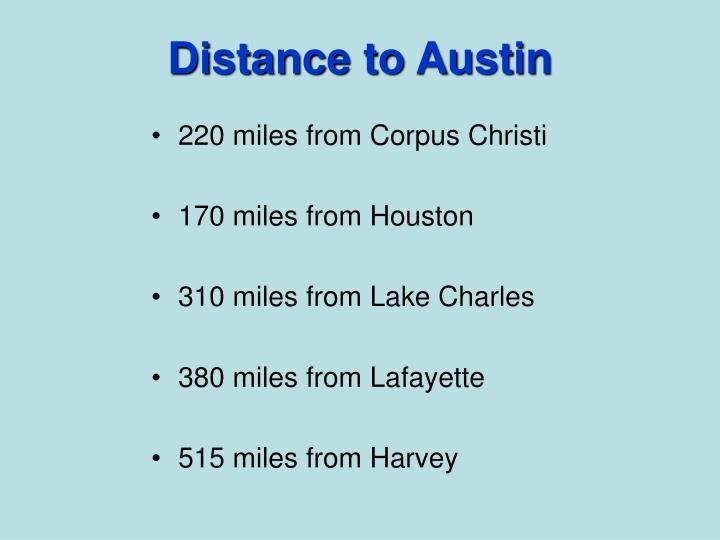 Distance to Austin