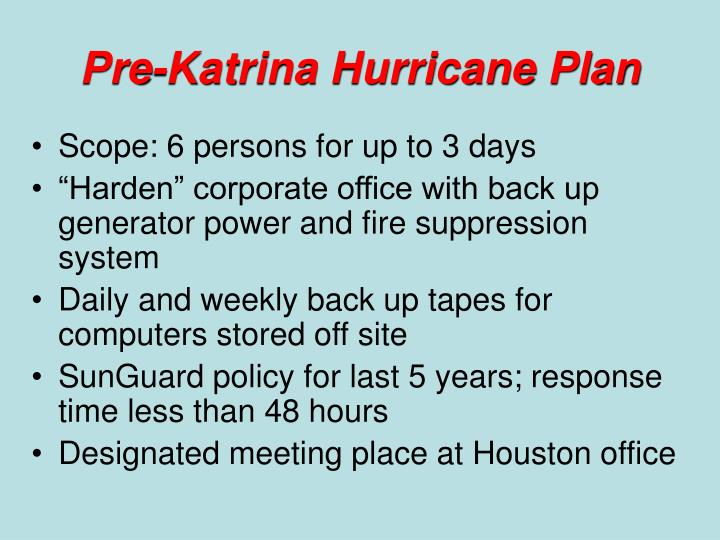 Pre-Katrina Hurricane Plan