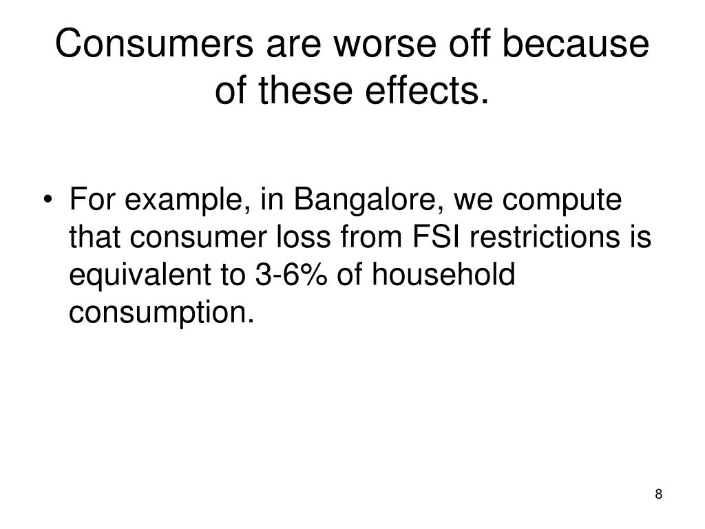Consumers are worse off because of these effects.