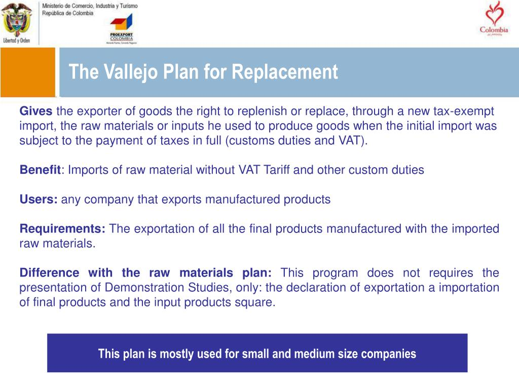 The Vallejo Plan for Replacement