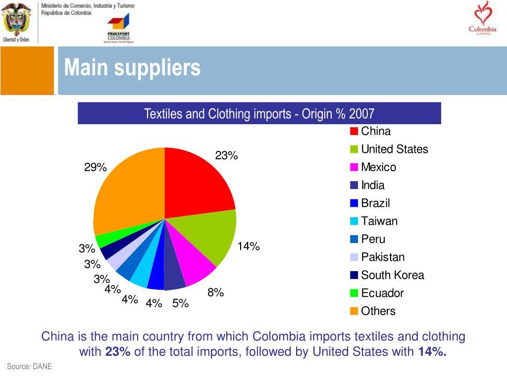 Main suppliers