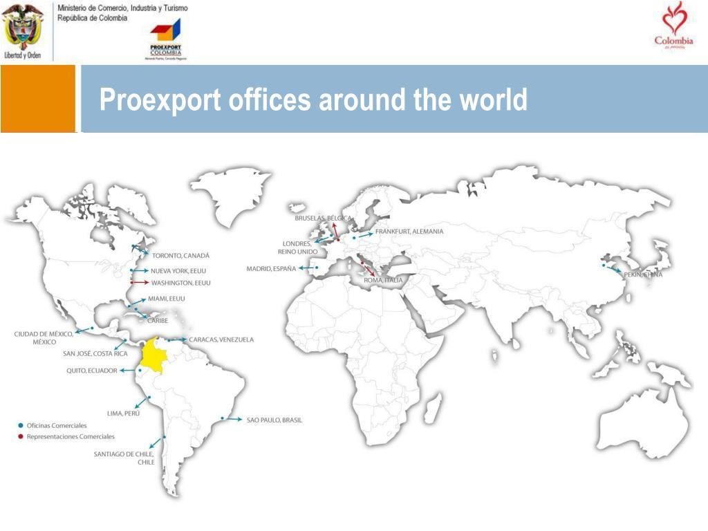Proexport offices around the world