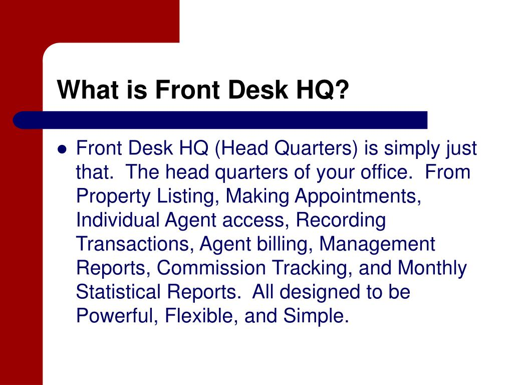 What is Front Desk HQ?