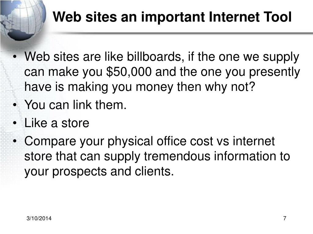 Web sites an important Internet Tool