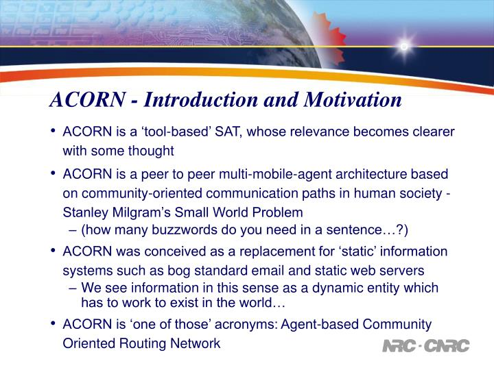 ACORN - Introduction and Motivation