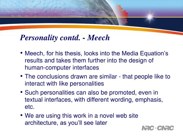 Personality contd. - Meech