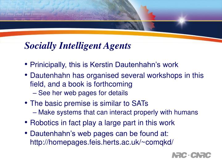 Socially Intelligent Agents