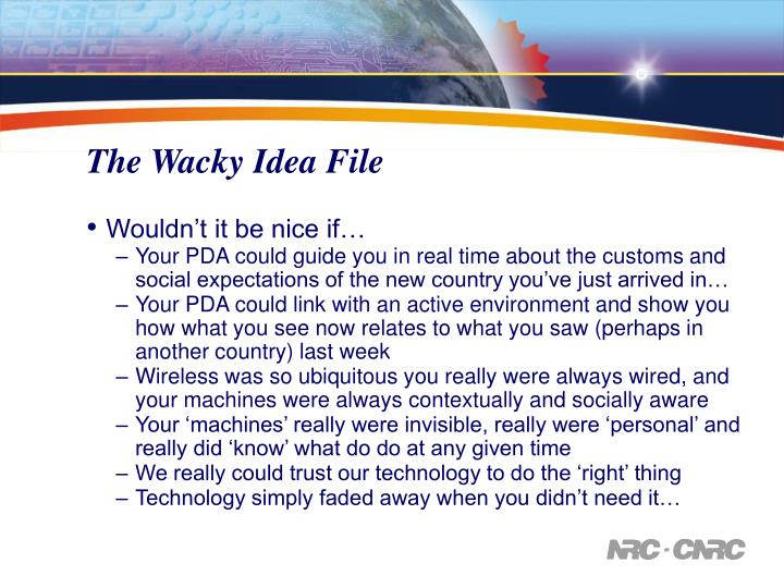 The Wacky Idea File