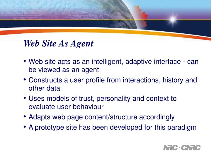 Web Site As Agent