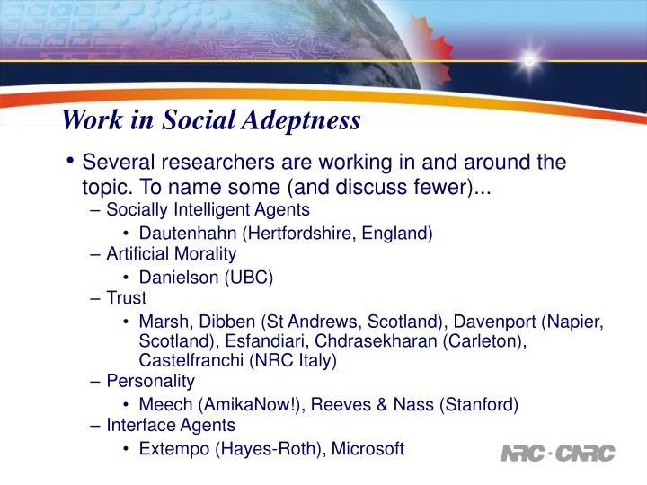 Work in Social Adeptness