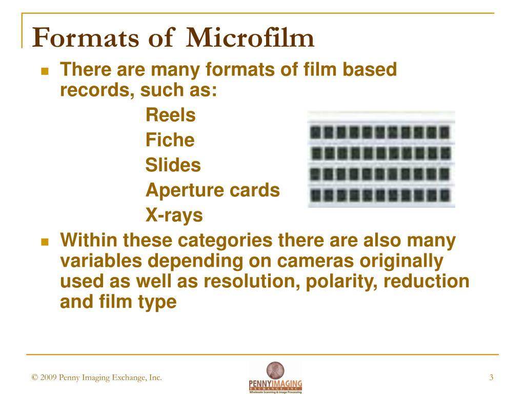 Formats of Microfilm