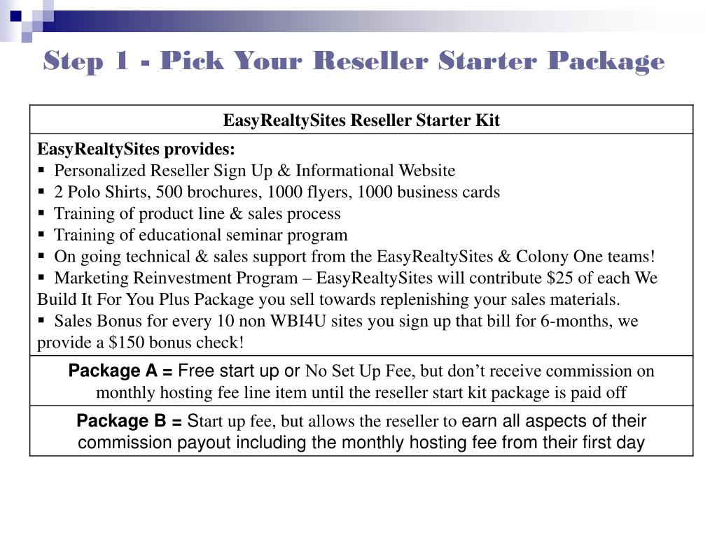 Step 1 - Pick Your Reseller Starter Package