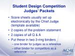 student design competition judges packets