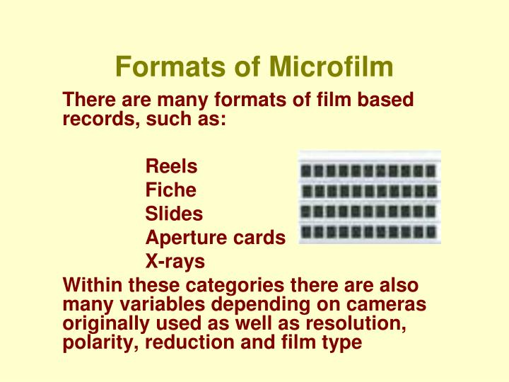 Formats of microfilm