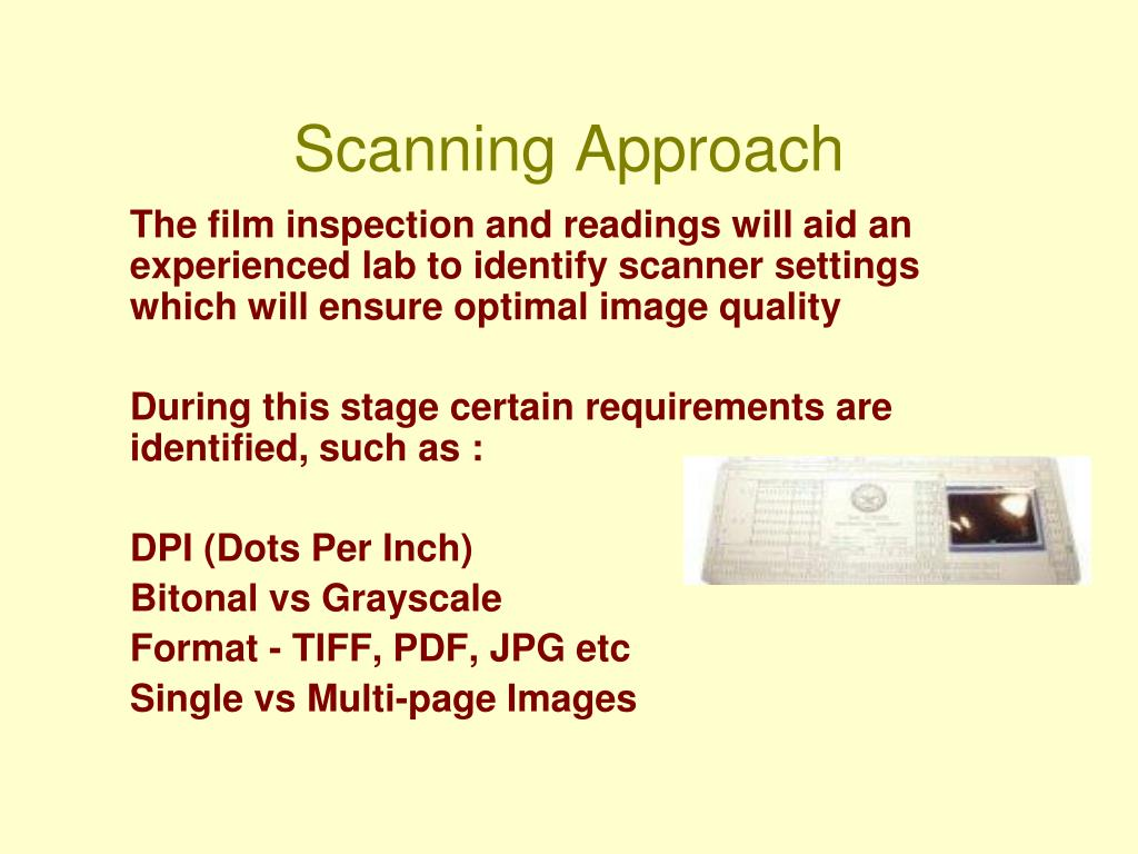 Scanning Approach