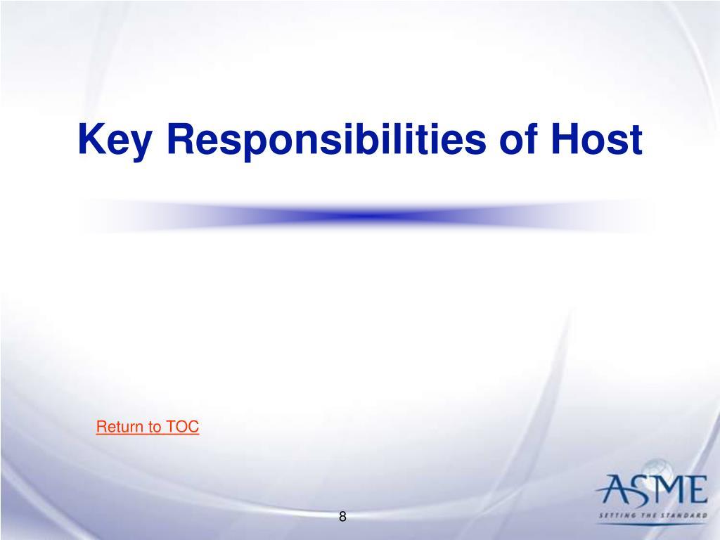 Key Responsibilities of Host