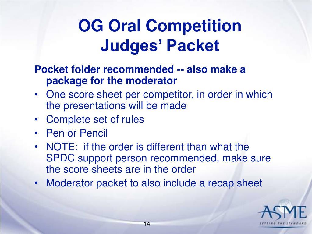 OG Oral Competition
