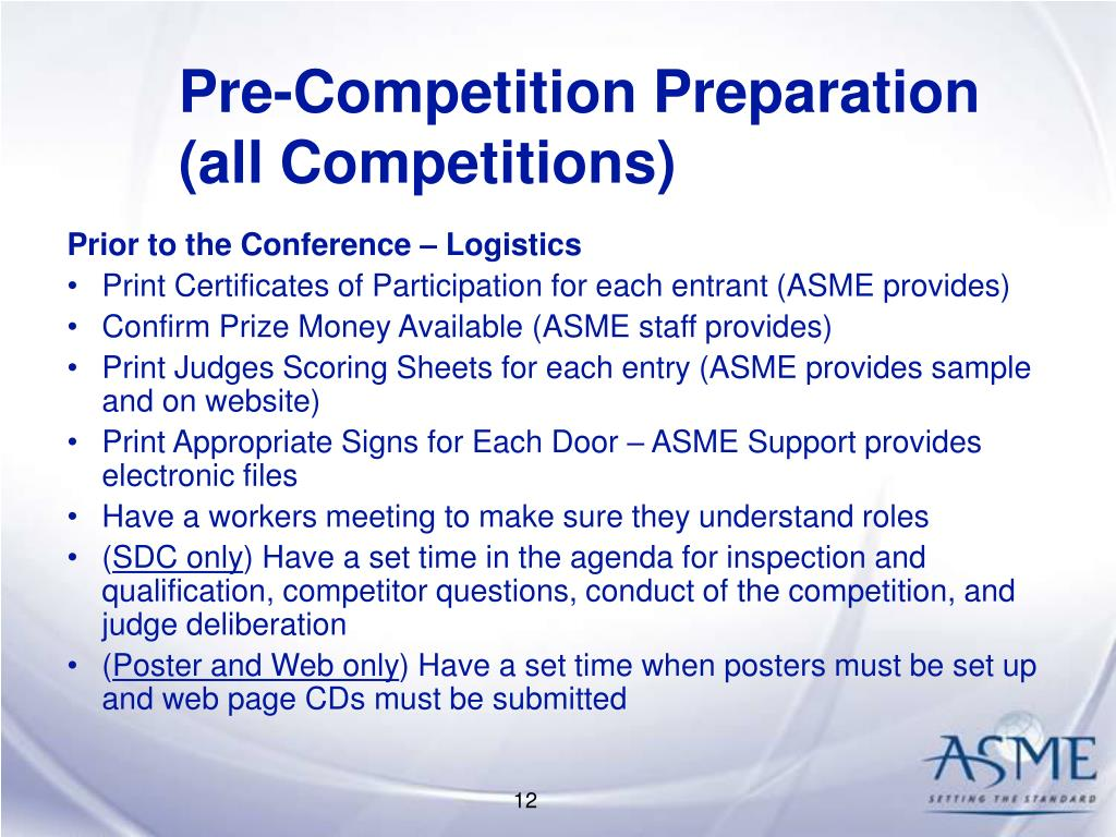 Pre-Competition Preparation (all Competitions)