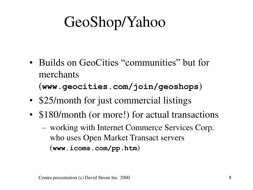 GeoShop/Yahoo