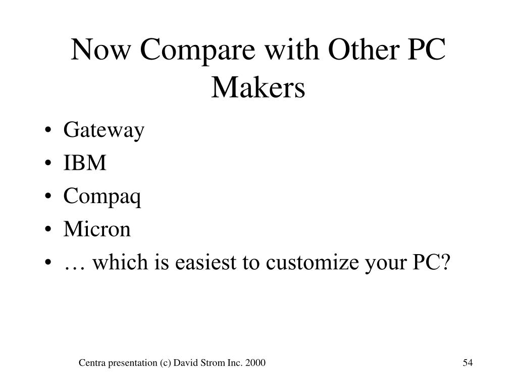 Now Compare with Other PC Makers