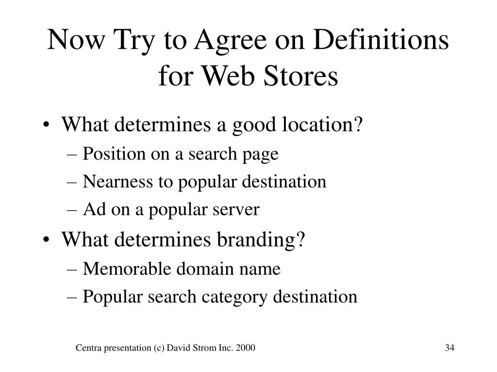 Now Try to Agree on Definitions for Web Stores