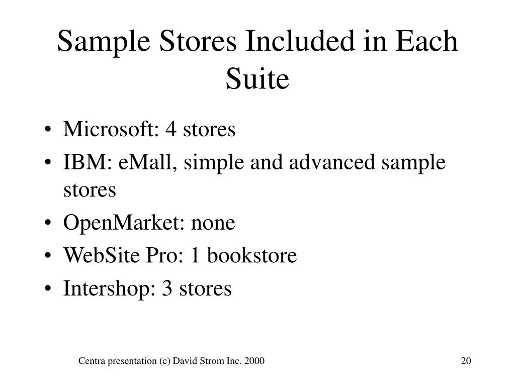 Sample Stores Included in Each Suite