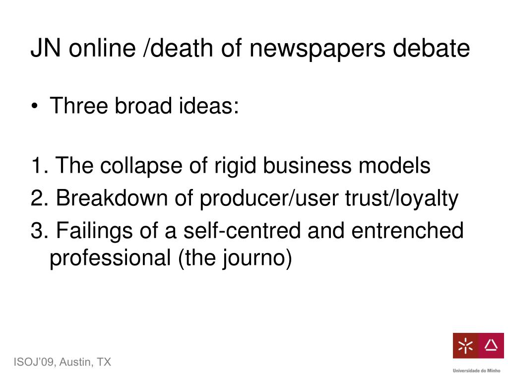 JN online /death of newspapers debate
