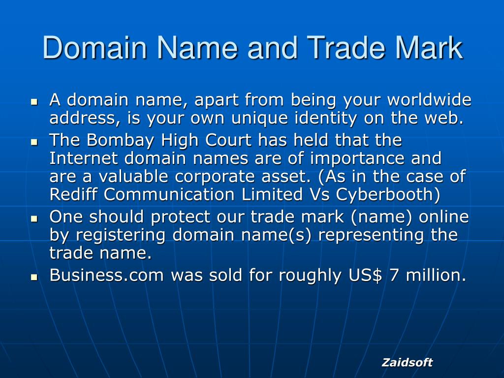 Domain Name and Trade Mark