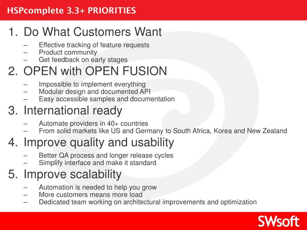 HSPcomplete 3.3+ PRIORITIES