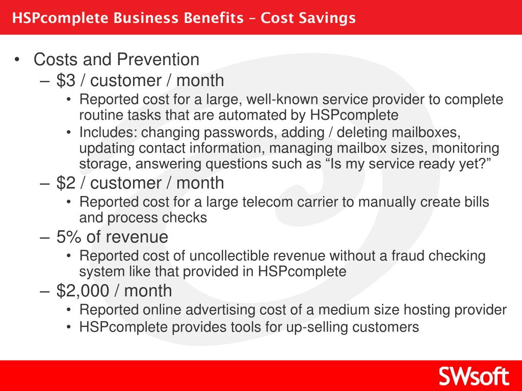 HSPcomplete Business Benefits – Cost Savings