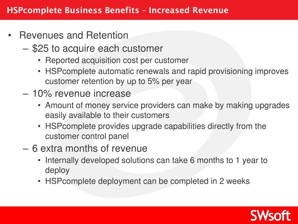 HSPcomplete Business Benefits – Increased Revenue