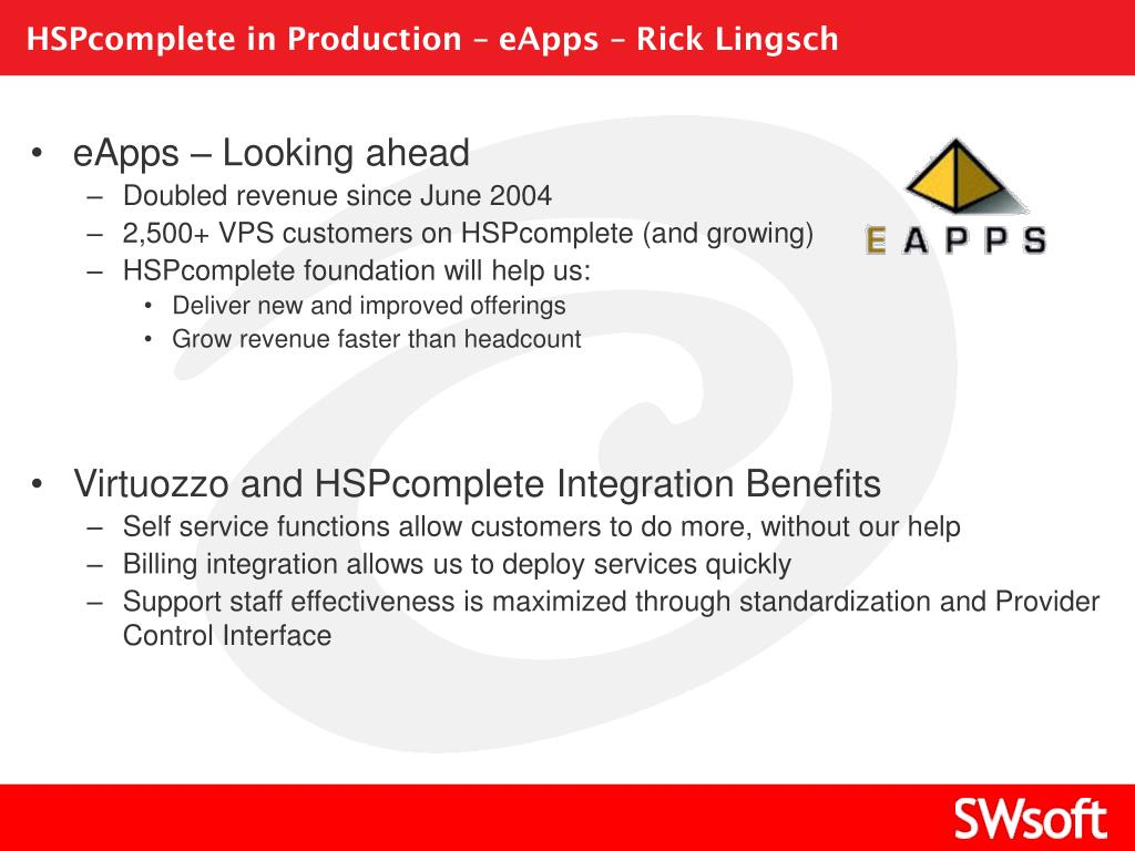 HSPcomplete in Production – eApps – Rick Lingsch