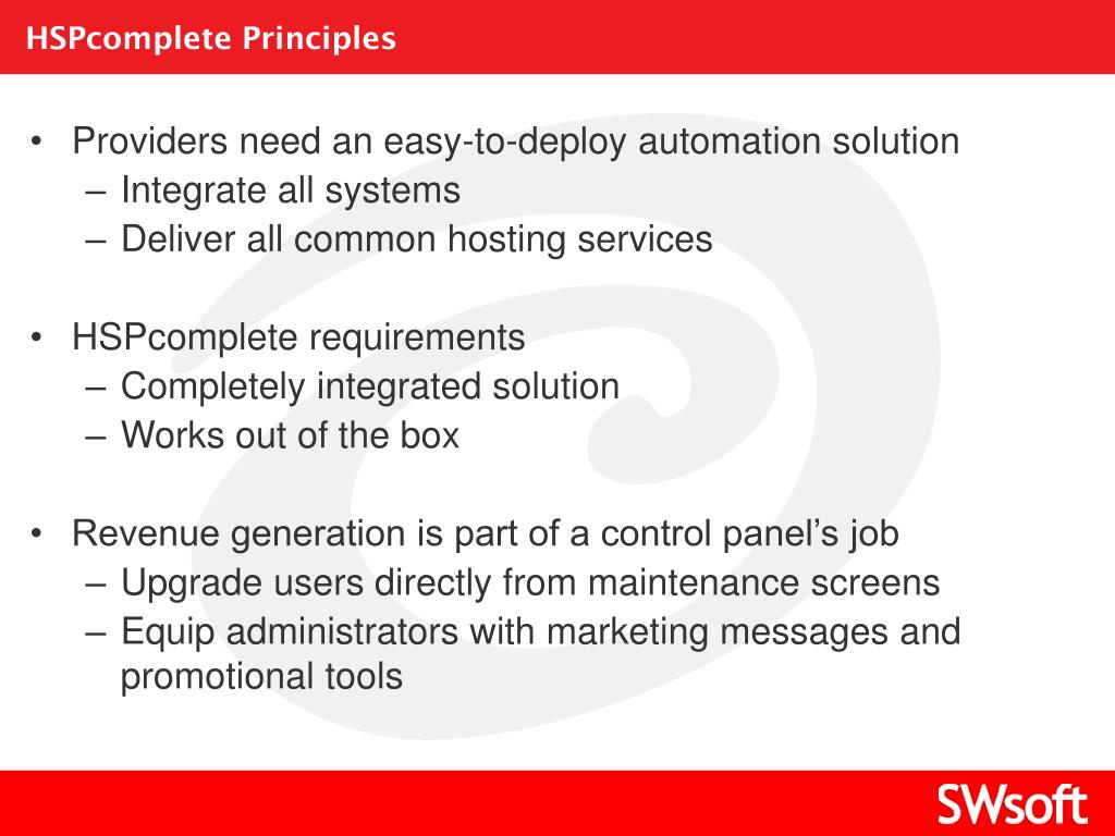 HSPcomplete Principles