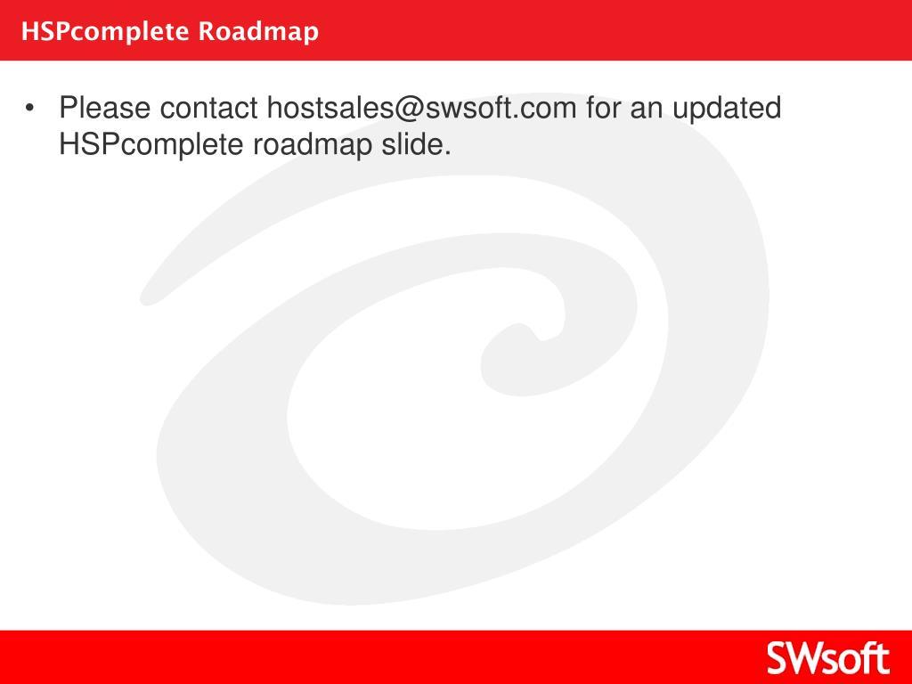 HSPcomplete Roadmap