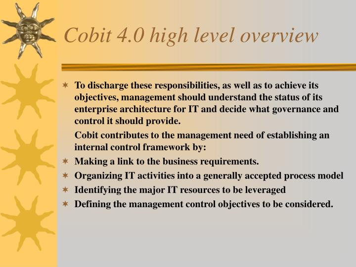 Cobit 4 0 high level overview