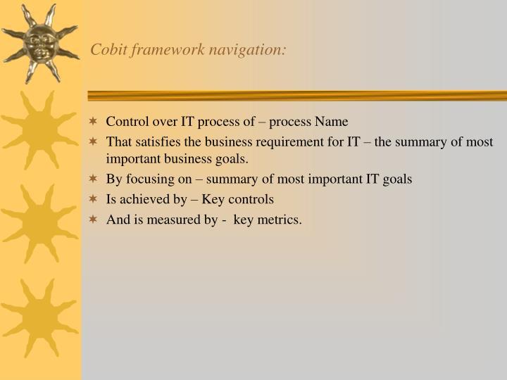 Cobit framework navigation: