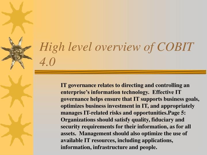 High level overview of cobit 4 0