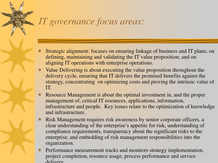 IT governance focus areas: