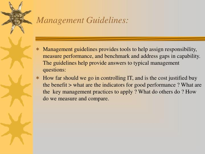 Management Guidelines: