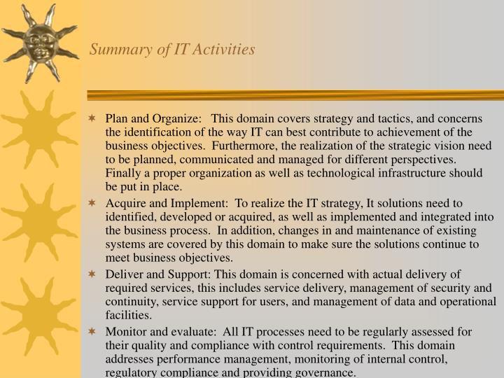 Summary of IT Activities