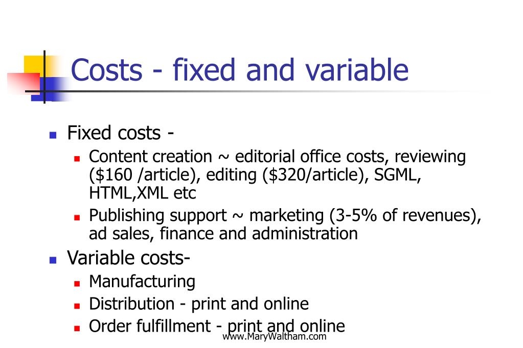 Costs - fixed and variable