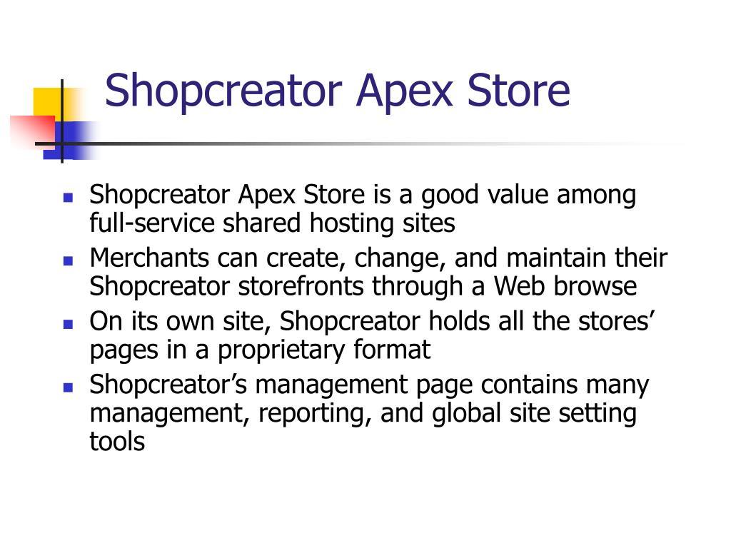 Shopcreator Apex Store