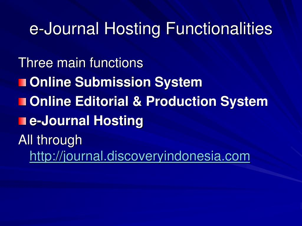 e-Journal Hosting Functionalities