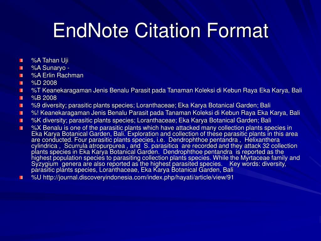 EndNote Citation Format