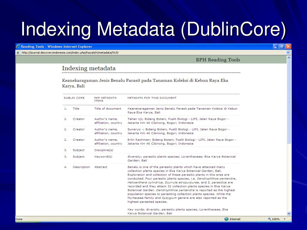 Indexing Metadata (DublinCore)