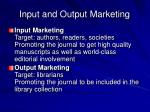 input and output marketing