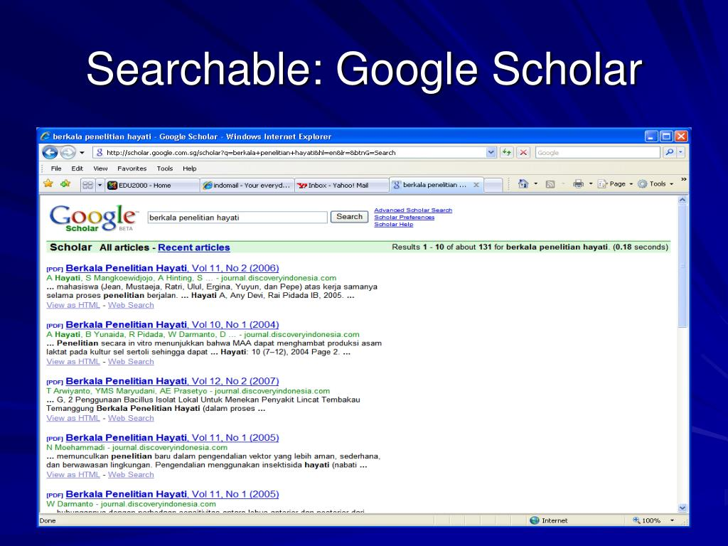 Searchable: Google Scholar