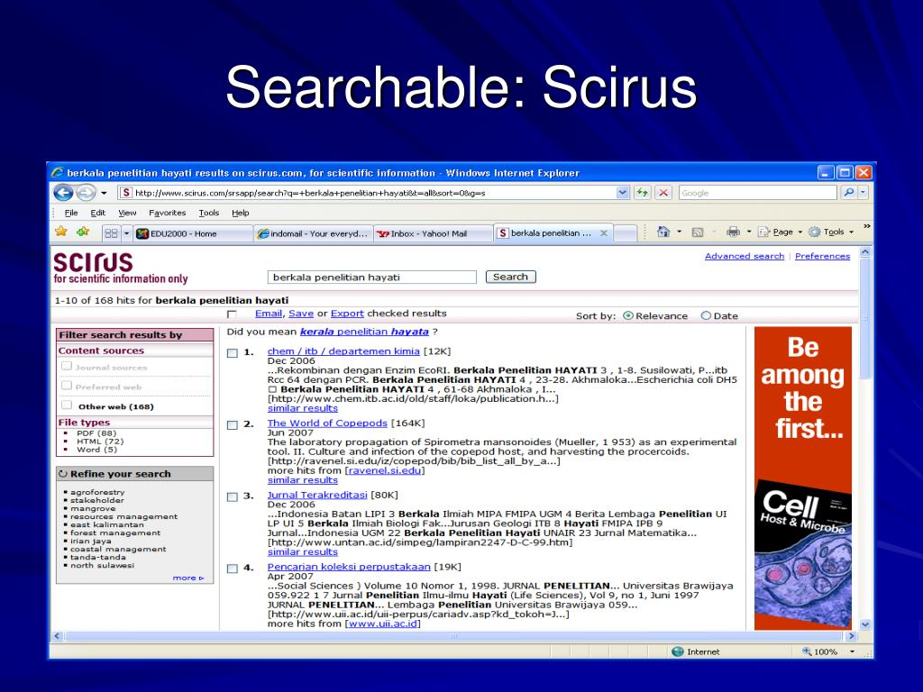 Searchable: Scirus